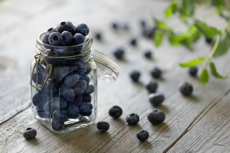 blueberries in jar